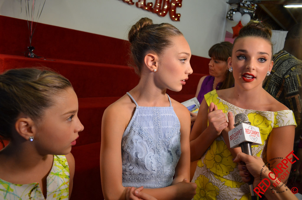 Makenzie, Madie, and Kendal at the opening  of Abby Lee Miller's Dance Company in Santa Monica.