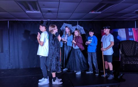 Josh Hindman, Tark McGrath, Lauren Gardiner, Riley Robinson, Caenan Salg and Daniel Hernandez rehearsing their play.