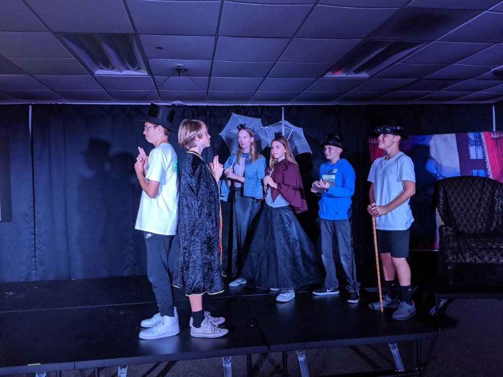 Josh Hindman, Tark McGrath, Lauren Gardiner, Riley Robinson, Caenan Salg and Daniel Hernandez rehearsing their play.