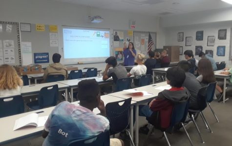 Ms. McGovney instructing her Advanced Computers and Engineering class.