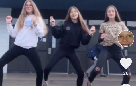 Nicole Hale, Breana Merrifield, and Madison Collette doing a TikTok dance.