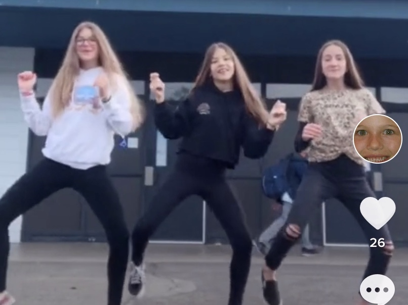 Nicole Hale, Breana Merrifield, and Madison Collette doing a TikTok dance.