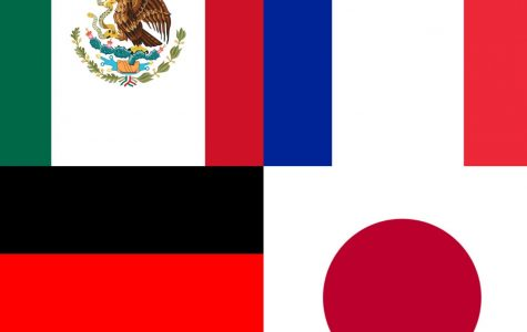 The flags of Mexico, France, Germany and Japan.