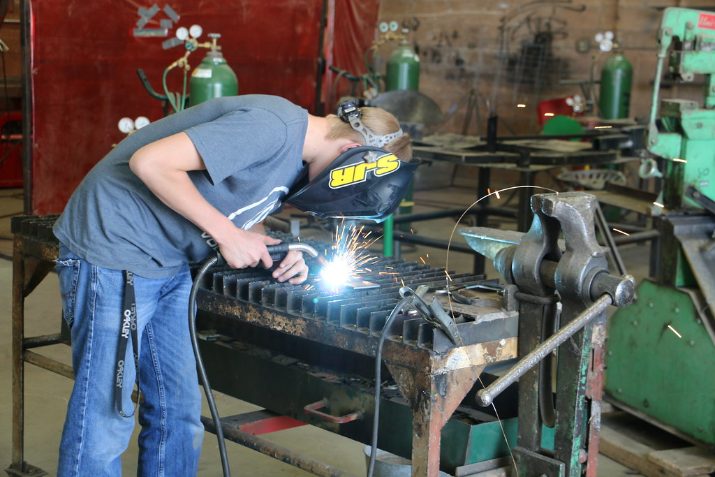 Student working on a project in an industrial class.