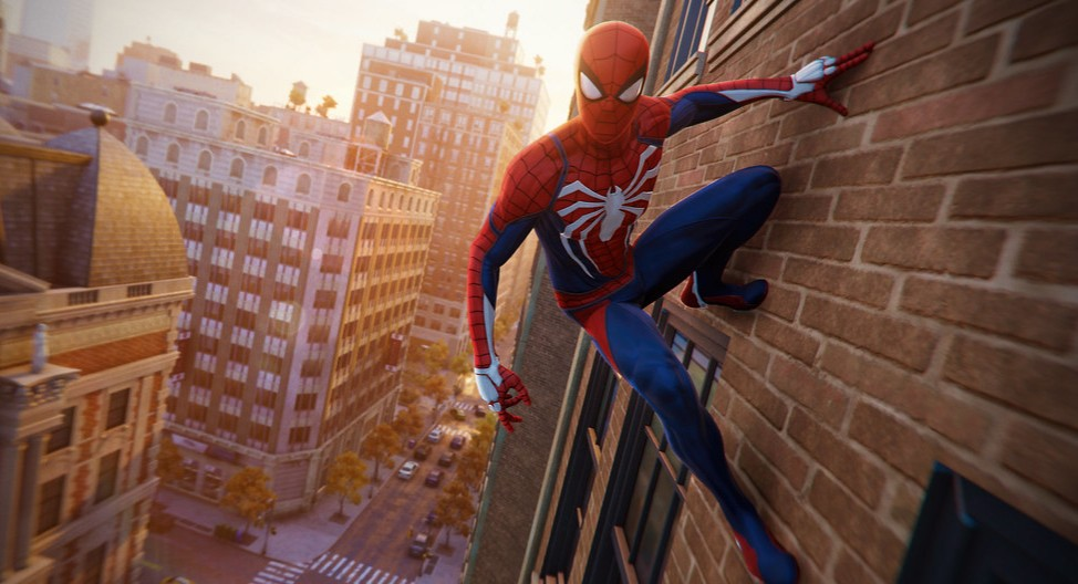Spider-Man chilling on a building.