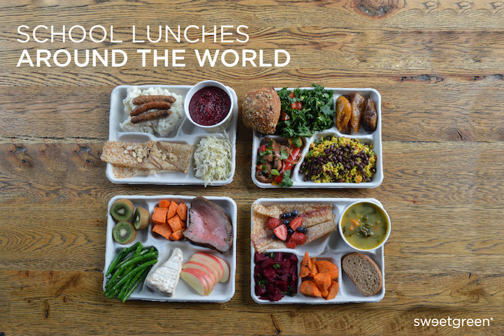 A set of lunches from four different countries; Ukraine, Brazil, France, and Finland