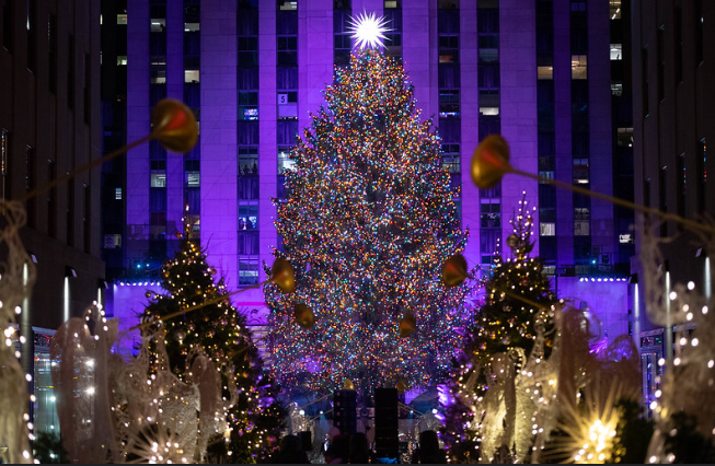 Decorated Christmas tree in New York's Rockefeller Center.