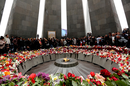 This image shows the inside of the Armenian Genocide monument, located in Armenia. Many tourists visit this monument whenever they travel to Armenia.