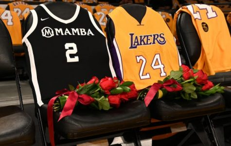 Two empty seats at the Staples Center are adorned with roses to mark the deaths of Kobe Bryant and his daughter Gigi.
