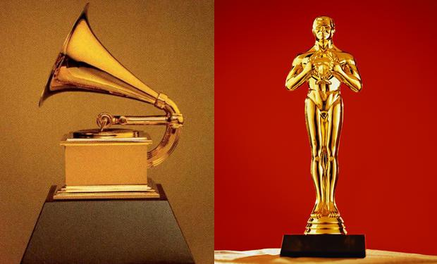 The Grammy and Oscar awards side by side.