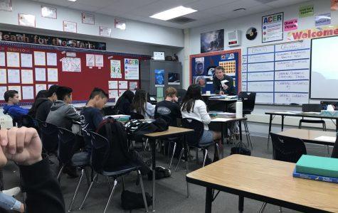Mr. Lynes teaching his seventh period class.