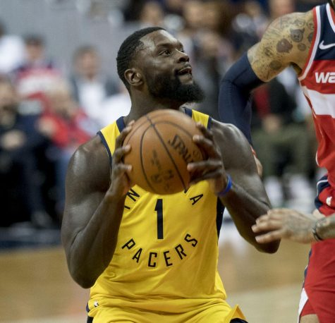 Lance Stephenson going up for a contact layup against a Wizard