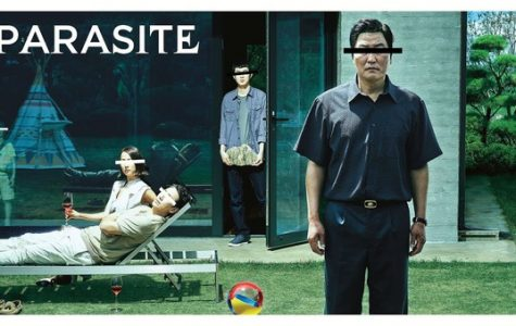Parasite's iconic movie poster featuring the mother and father from the rich family and the son and father from the poor family.