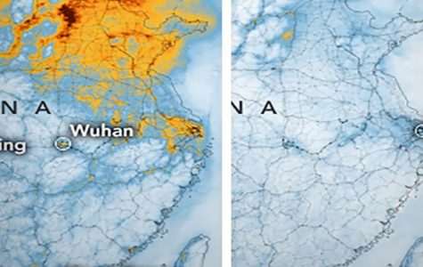 Air pollution in some parts of China before and after rising cases of the Coronavirus.