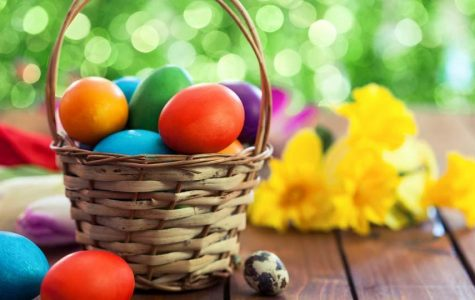 Easter basket filled with colorful Easter eggs!