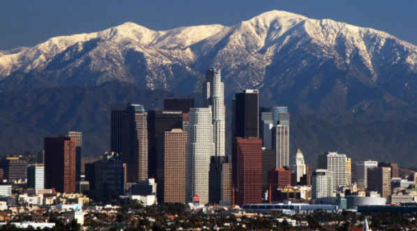 This represents the lift of the smog hanging over Los Angeles.