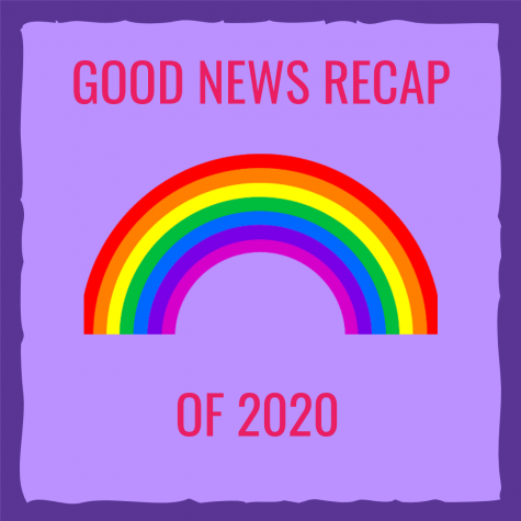 "The Words ""Good News Recap Of 2020"" around a rainbow"