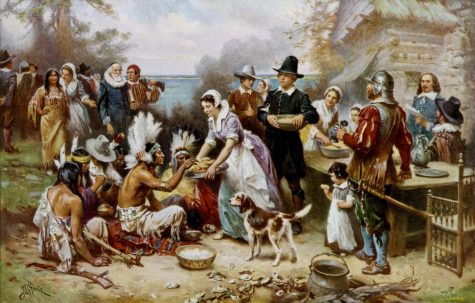 A painting of what the first Thanksgiving may have been like.