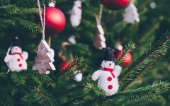 Close up image of Christmas ornaments on a tree.
