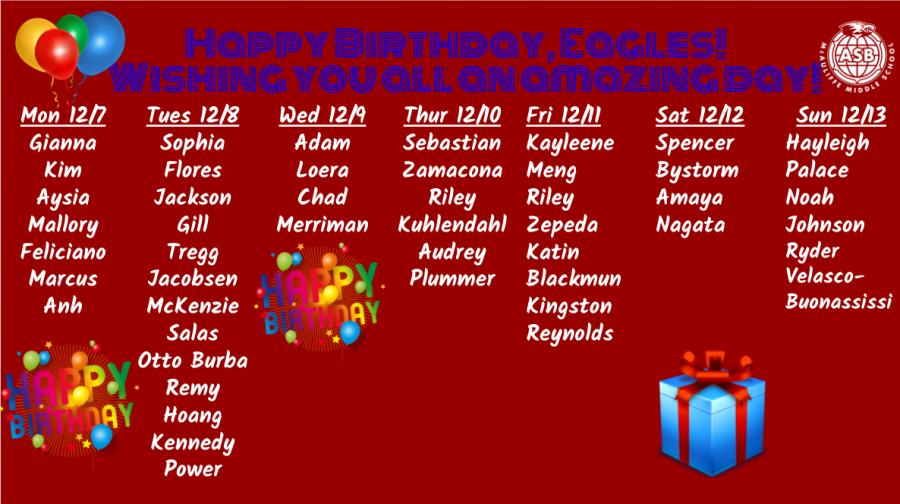 McAuliffe Middle School Birthdays!