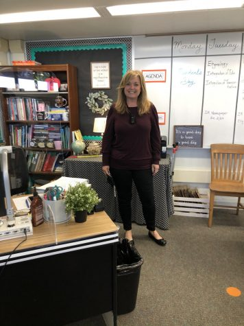 Mrs. LeTouneau in her classroom.