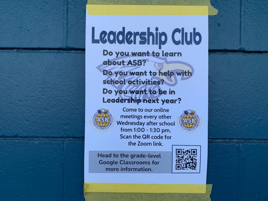 A photo of a Leadership Club poster on campus.