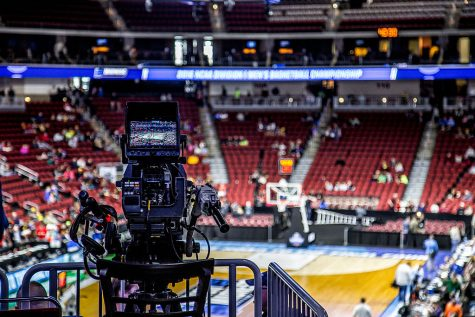 A CBS TV camera getting in position to record the NCAA Tournament.