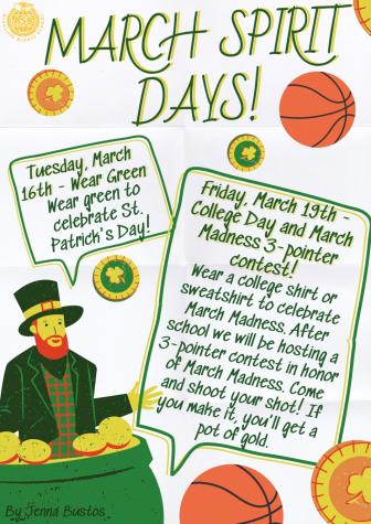 March Spirit Days ASB poster.