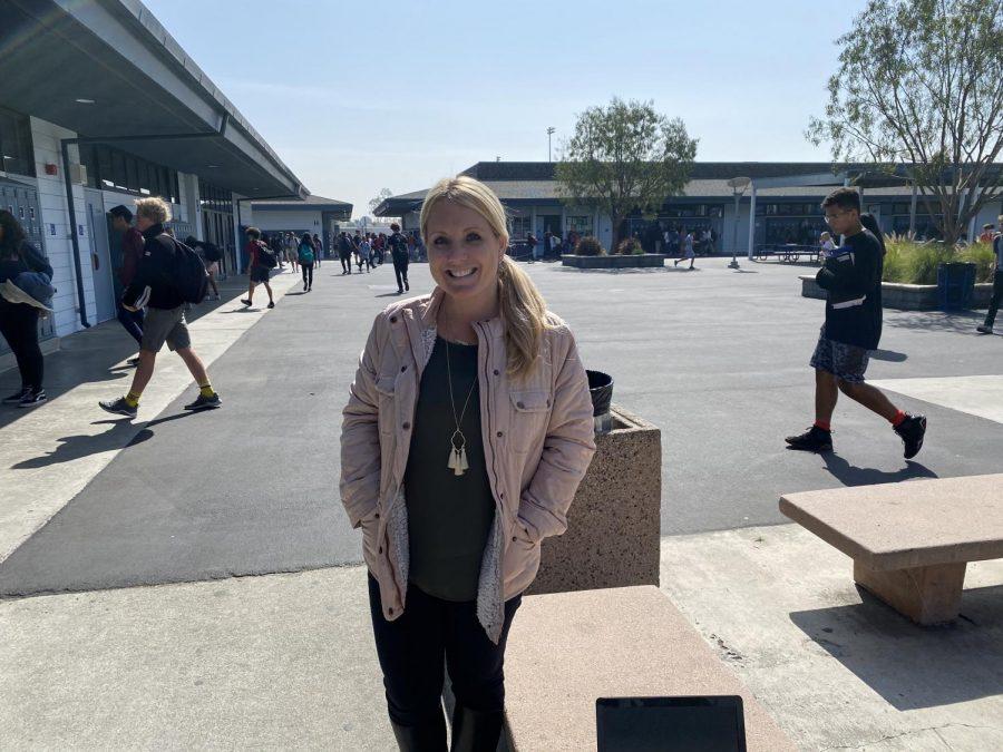 Mrs. Amundson outside on campus.