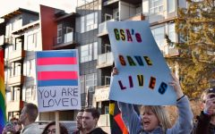 A group of protesters holds signs reading GSAs Save Lives and Your Are Loved beneath a trans flag.