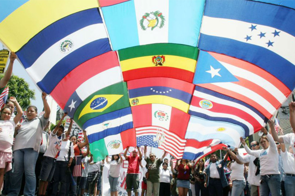 A flag mosaic for Hispanic Heritage Month in St. Louis, Florida.
